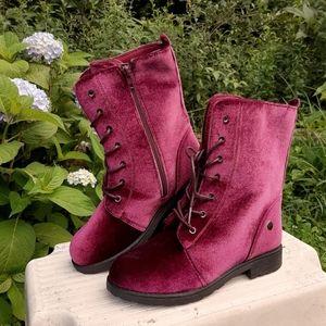 [Kensie Girl] Burgundy velvet lace up combat boots